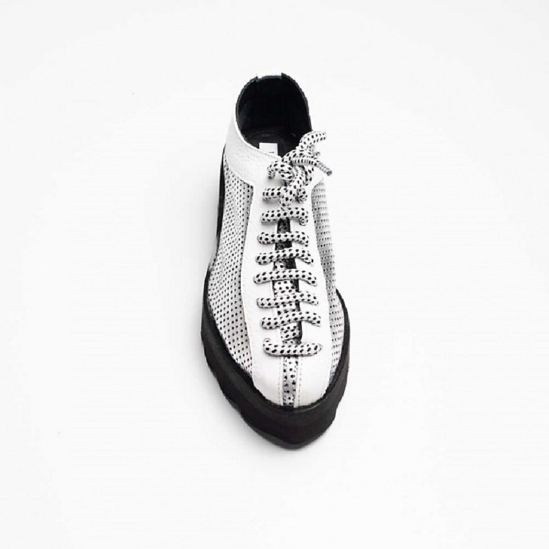 Pantofi din piele naturala perforata, argintiu-alb