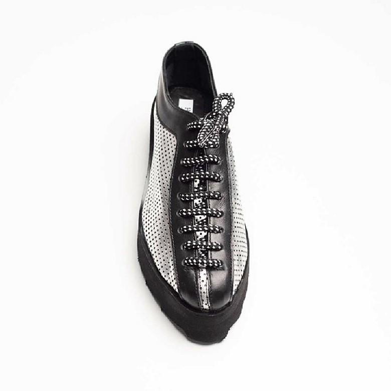 Pantofi din piele naturala perforata, argintiu-negru