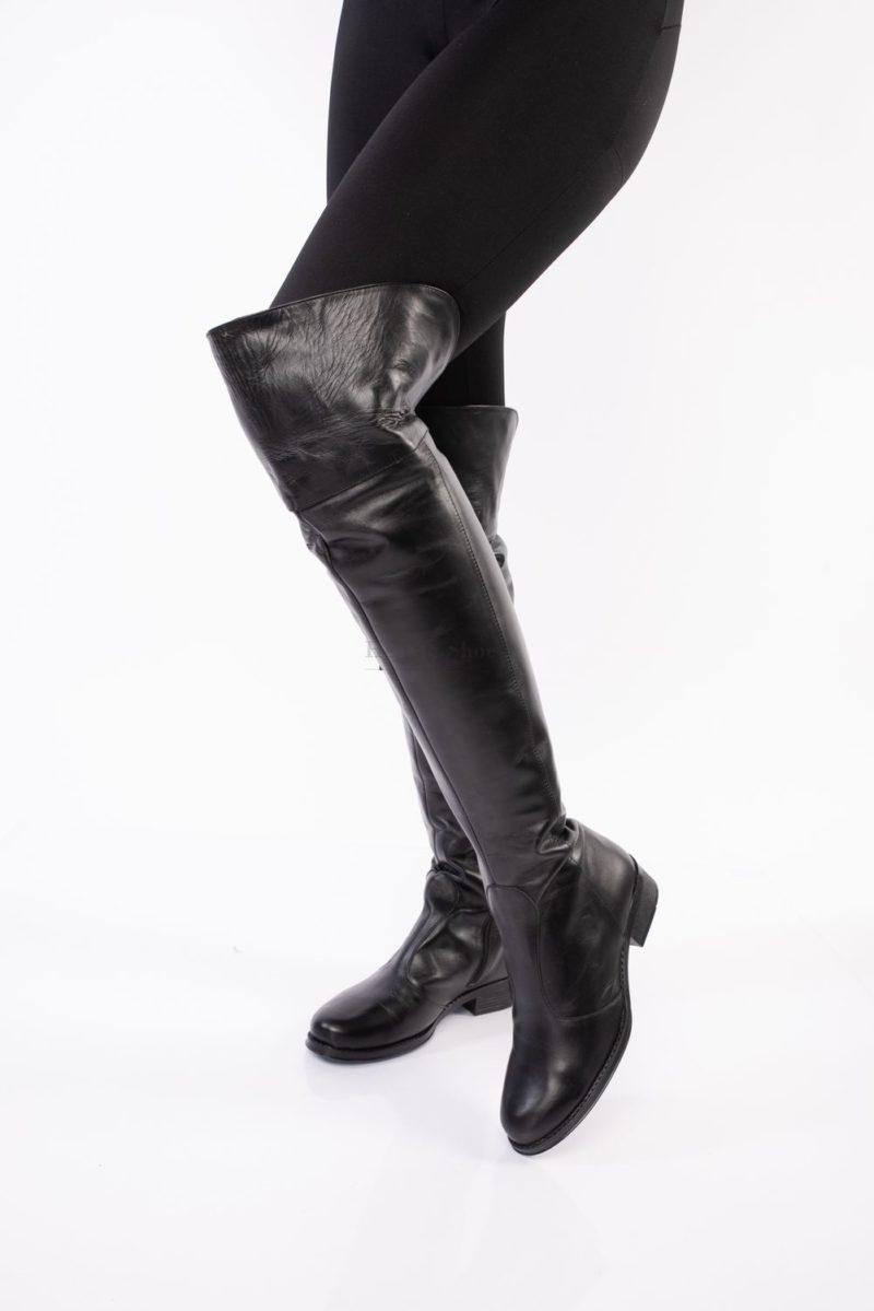 Cizme din piele naturala peste genunchi cu fermoar
