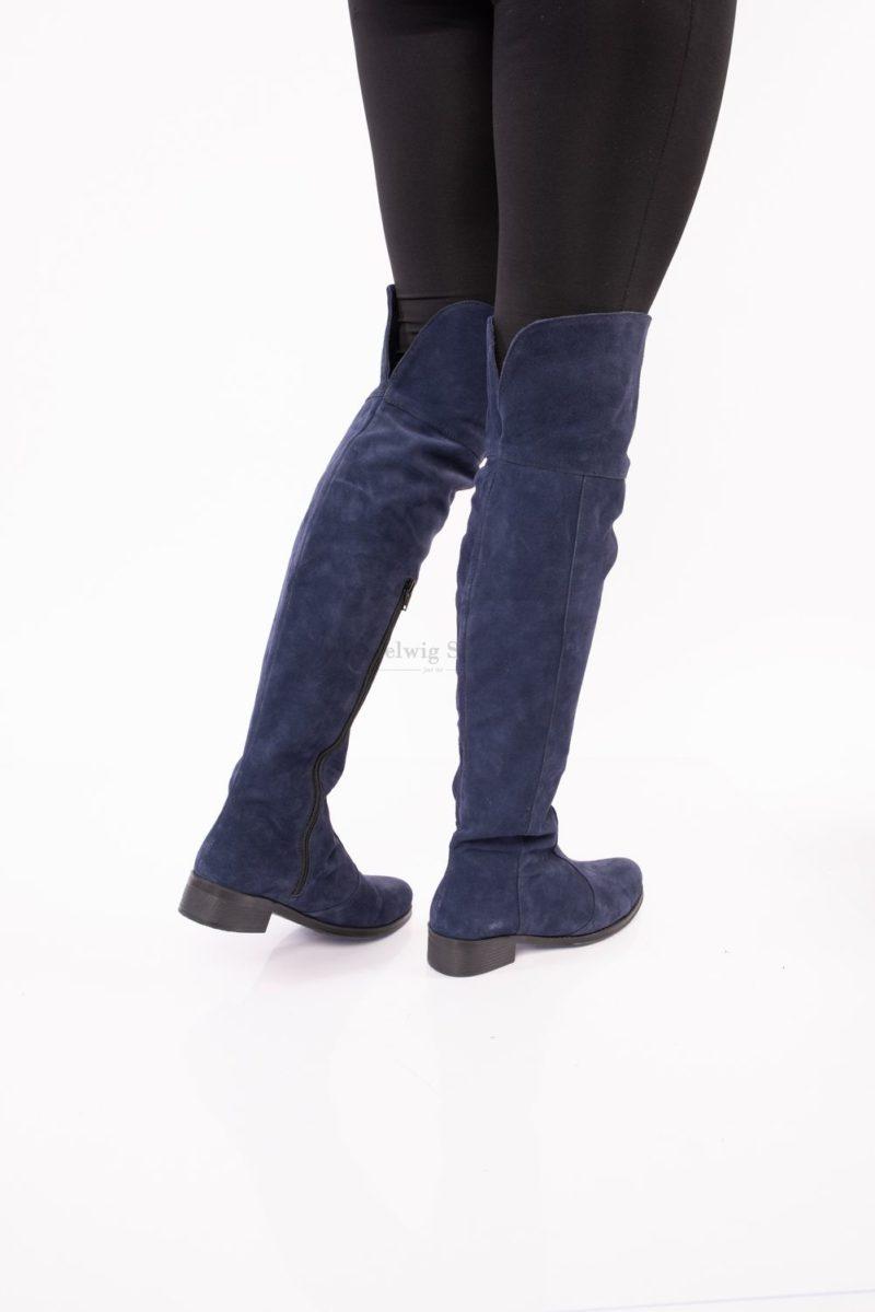 Cizme piele intoarsa, peste genunchi, navy blue