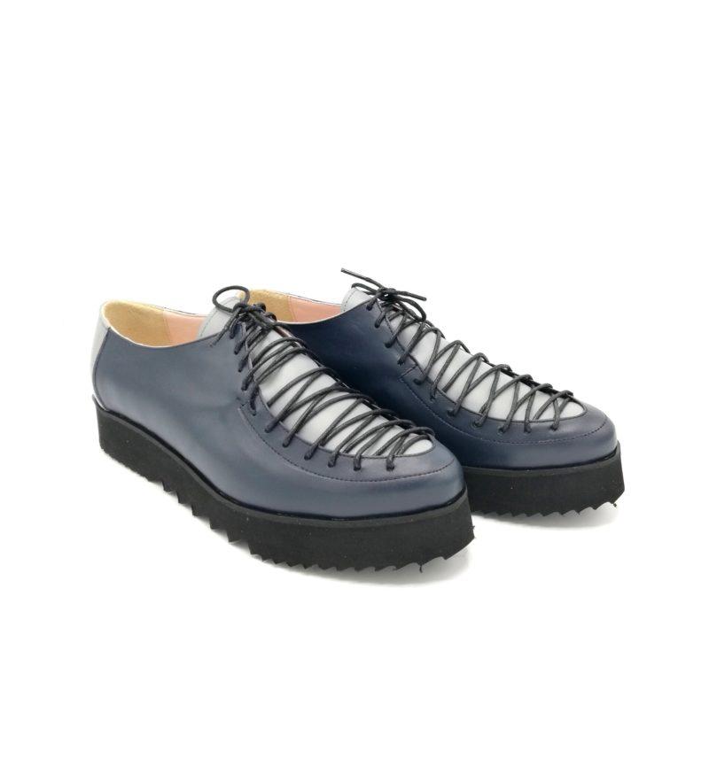 Pantofi albastru mineral din piele naturala cu sireturi