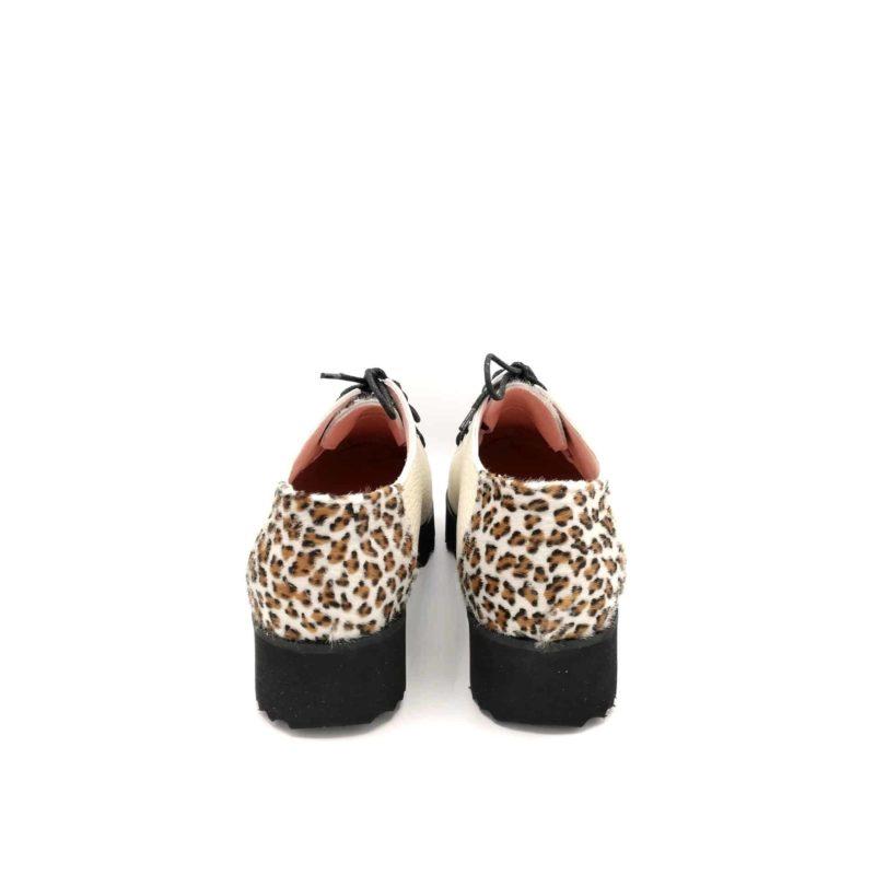 Pantofi crem din piele naturala cu piele de ponei