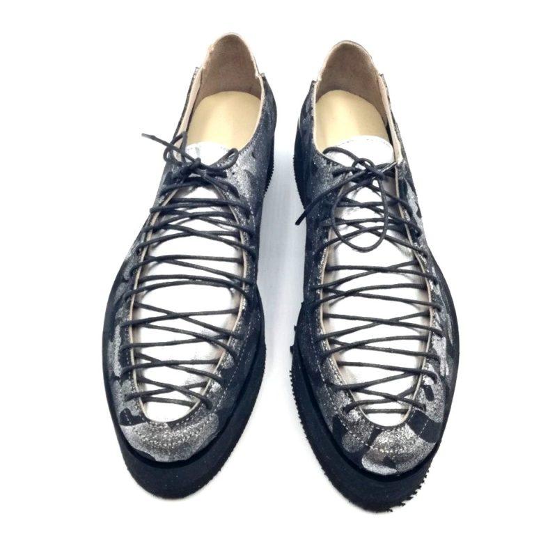 Pantofi dama, argintiu, din piele naturala intoarsa
