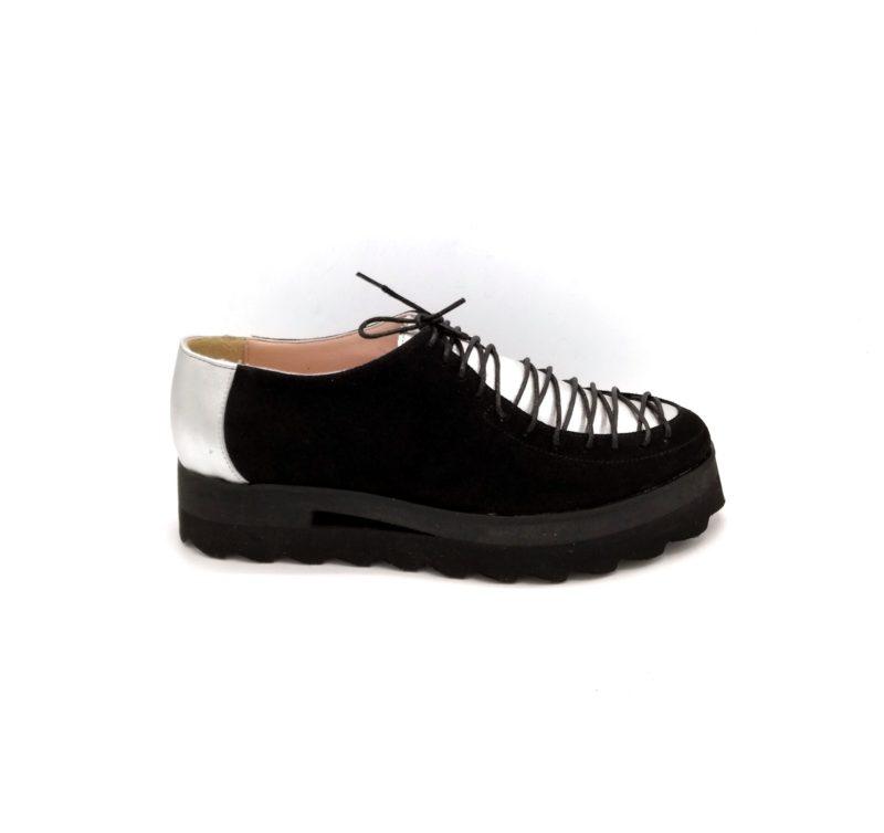 Pantofi dama negru-argintiu din piele intoarsa