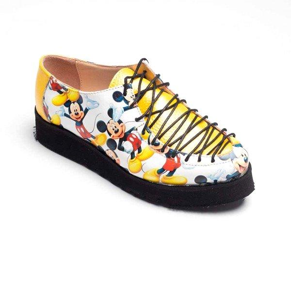Pantofi din piele naturala model Mickey