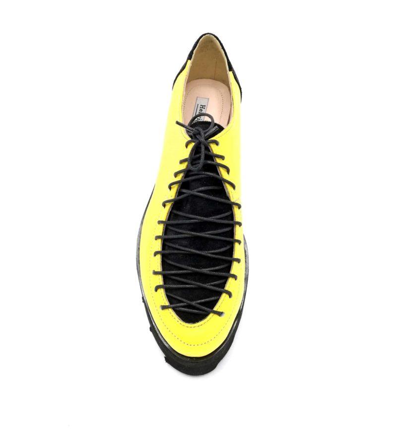 Pantofi galbeni-negri din piele naturala cu sireturi