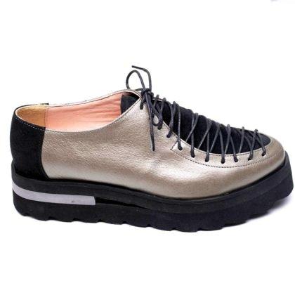 Pantofi gri metalizat din piele naturala