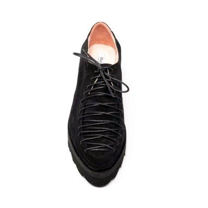 Pantofi negri din piele intoarsa - velur