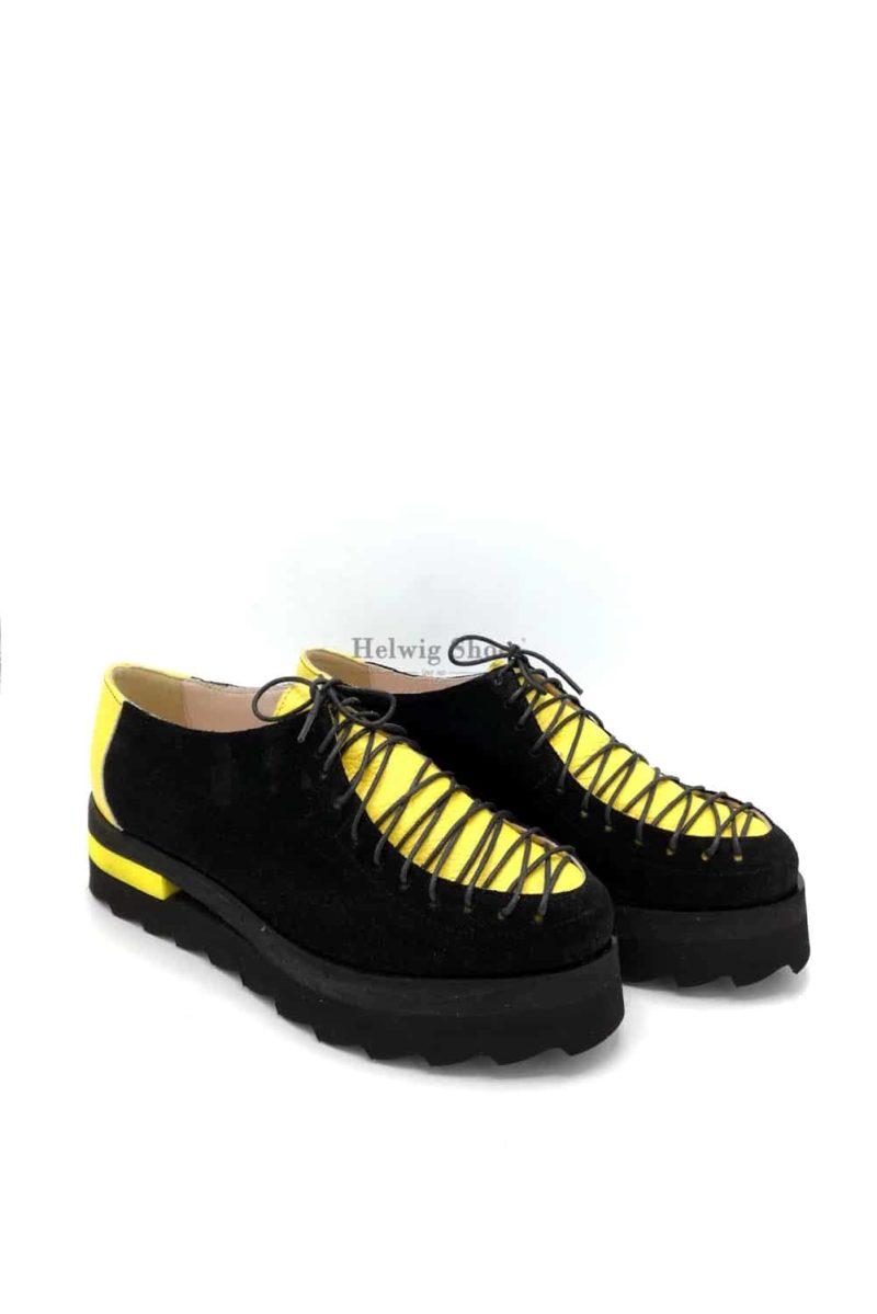 Pantofi negri-galbeni din piele naturala cu sireturi