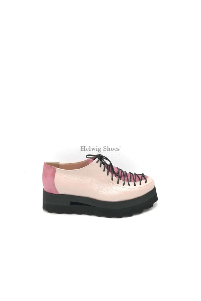 Pantofi roz prafuit din piele naturala cu sireturi