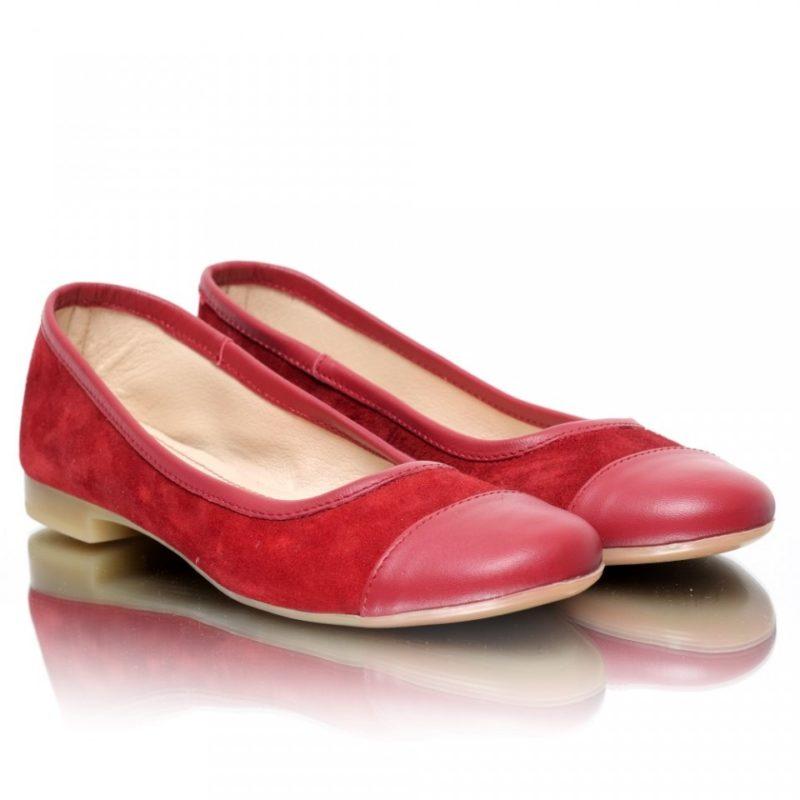 Balerini rosii din piele naturala intoarsa