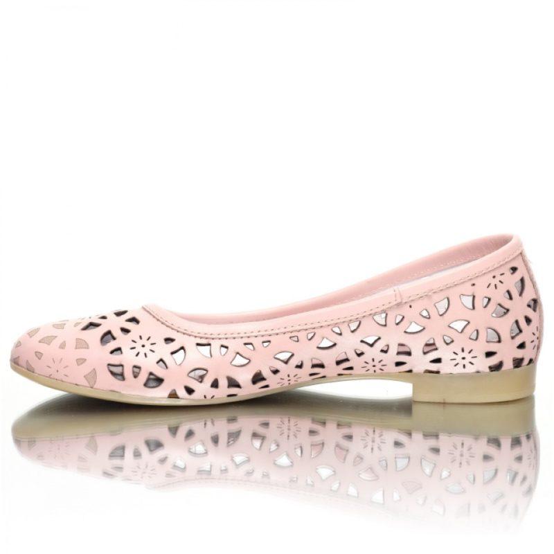 Balerini roz din piele naturala model laserat