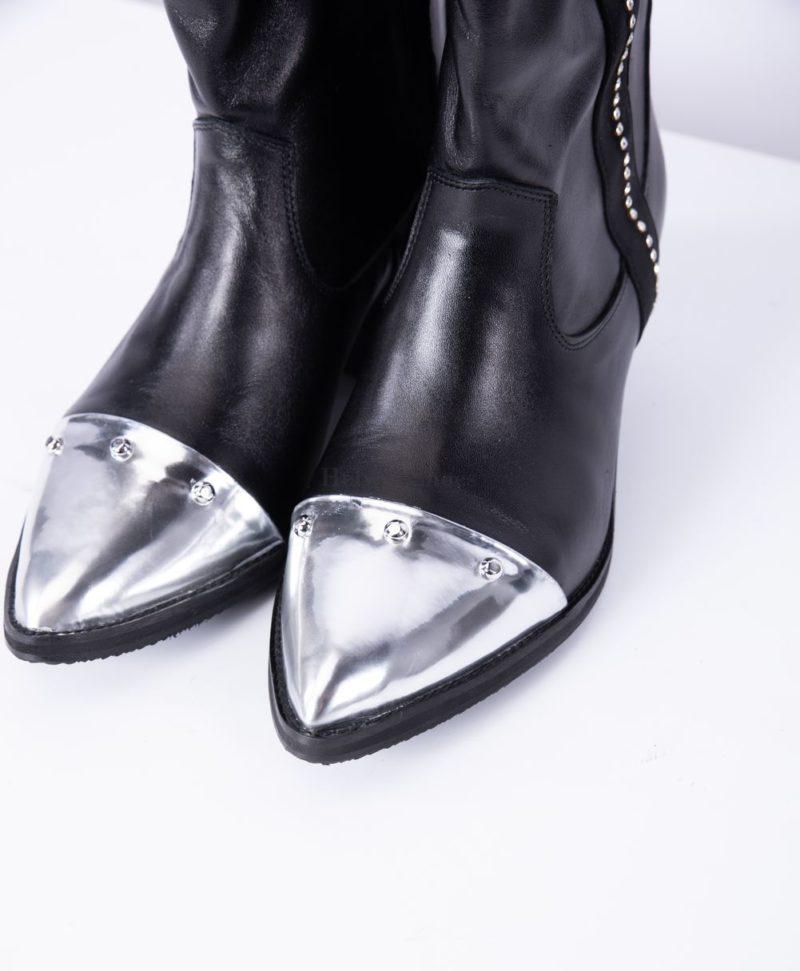 Ciocate din piele naturala neagra, varf argintiu