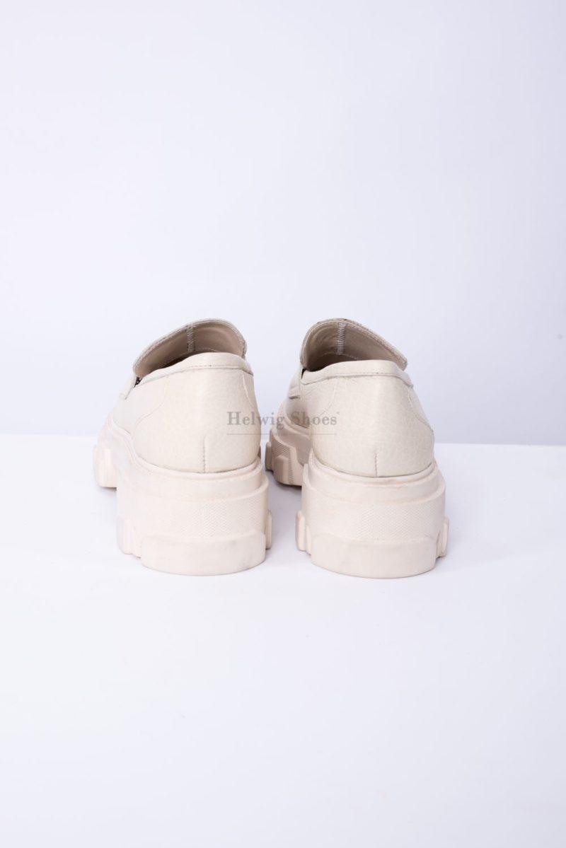 Pantofi dama din piele naturala bej bizonata