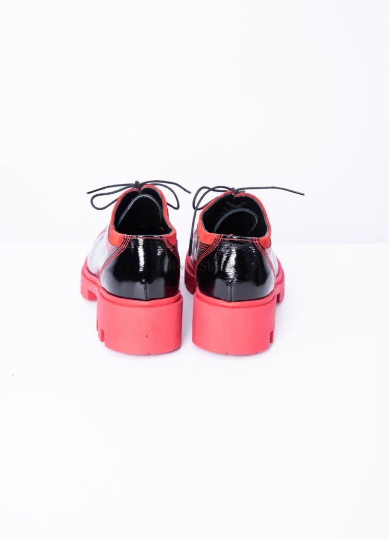 Pantofi dama din piele naturala cu piele intoarsa rosie