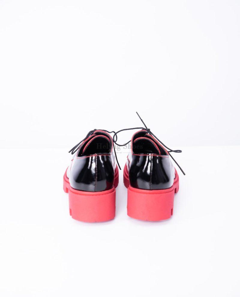 Pantofi dama din piele naturala neagra talpa rosie