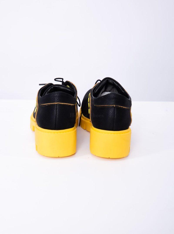 Pantofi dama piele naturala bizonata, talpa galbena