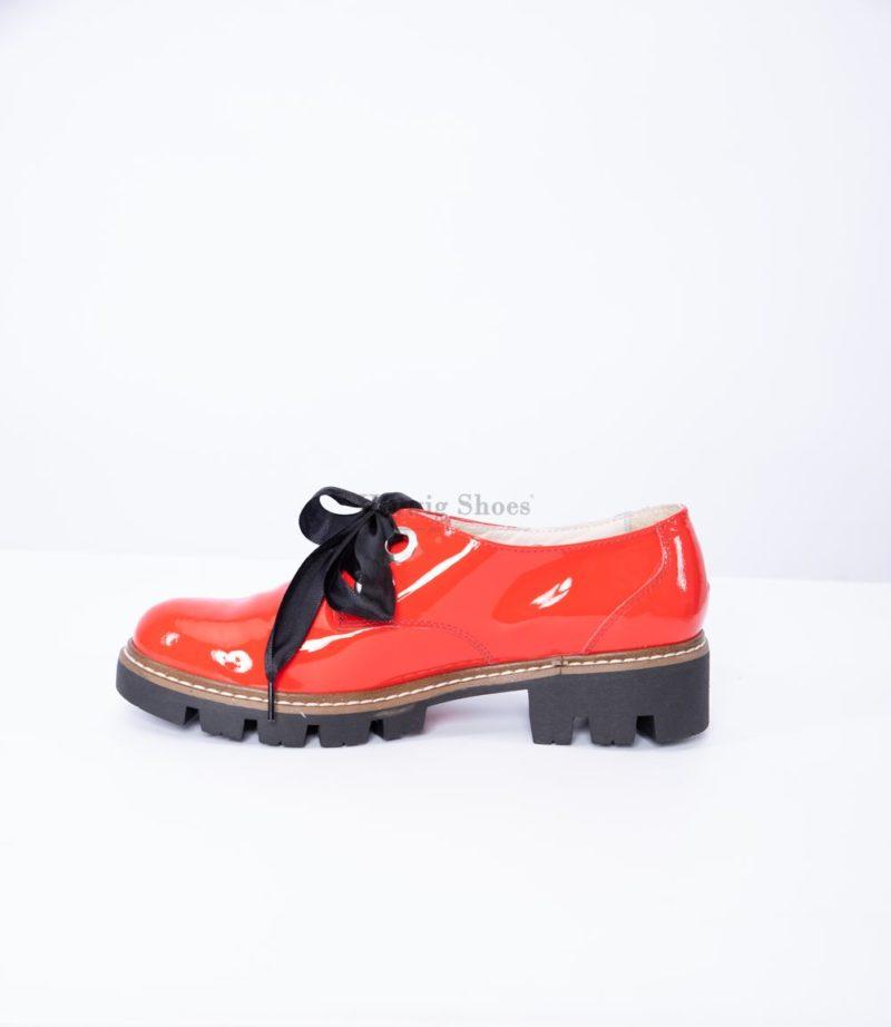 Pantofi dama, piele naturala lacuita rosie, cu funda
