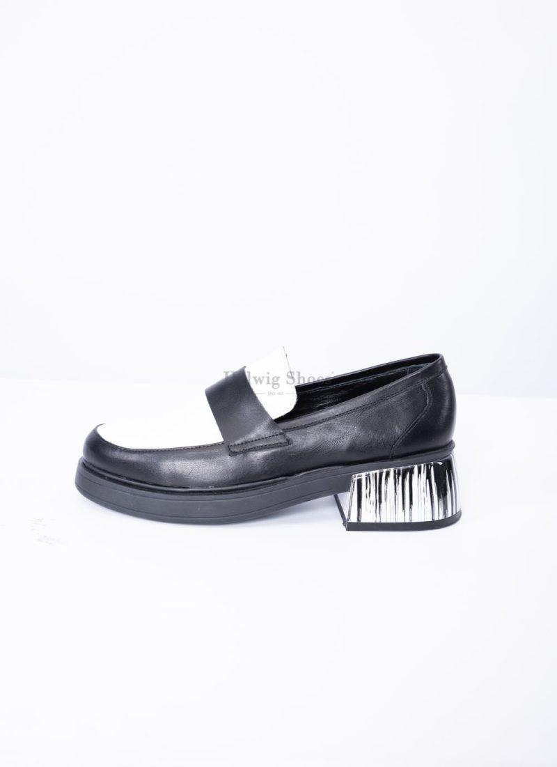 Pantofi dama piele naturala neagru cu alb