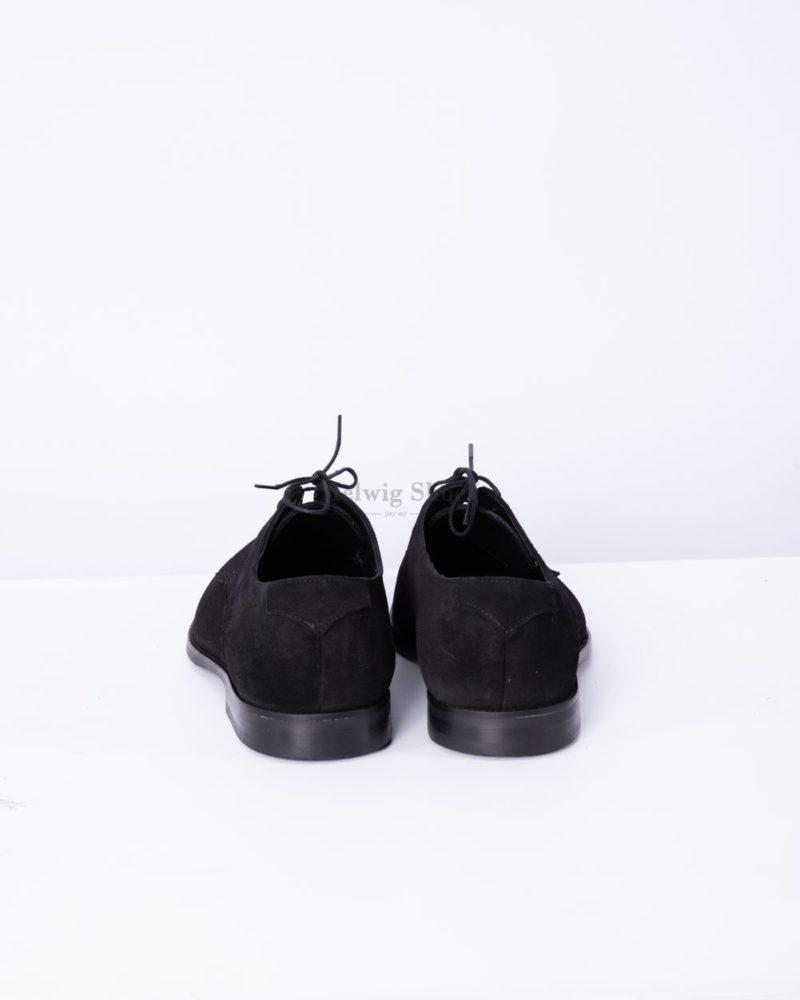 Pantofi barbati din piele naturala intoarsa neagra