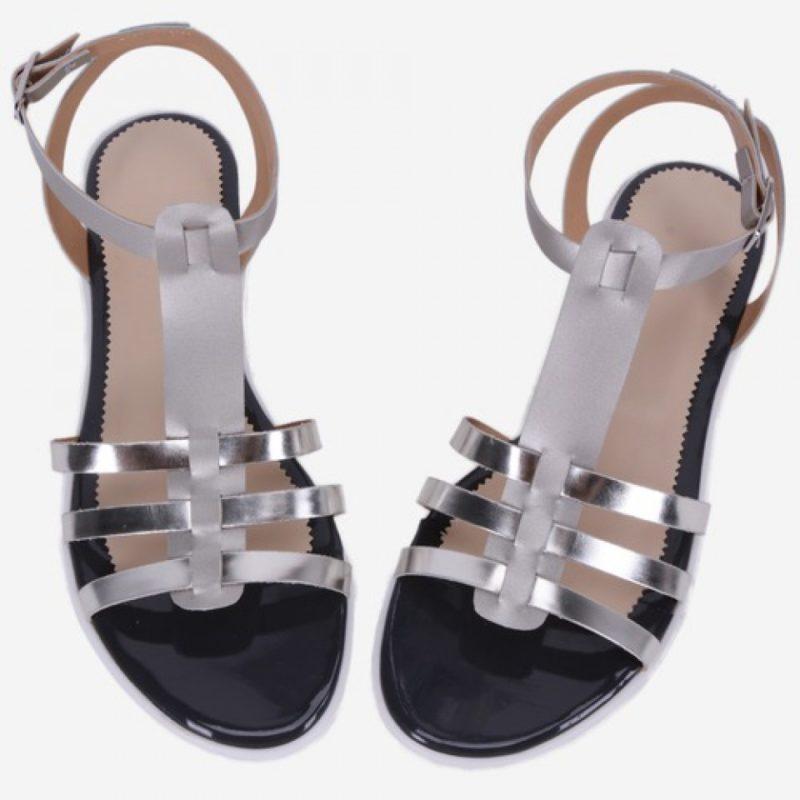 Sandale din piele naturala cu barete argintii