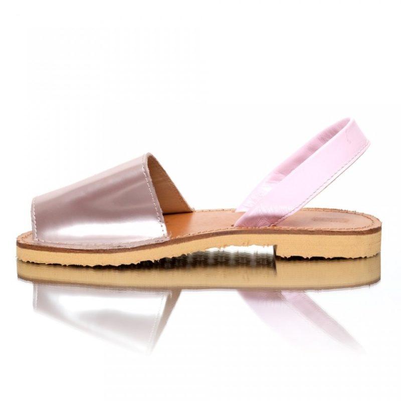 Sandale din piele naturala roz-oglinda