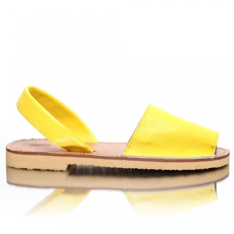 Sandale din piele naturala galben-lamaie