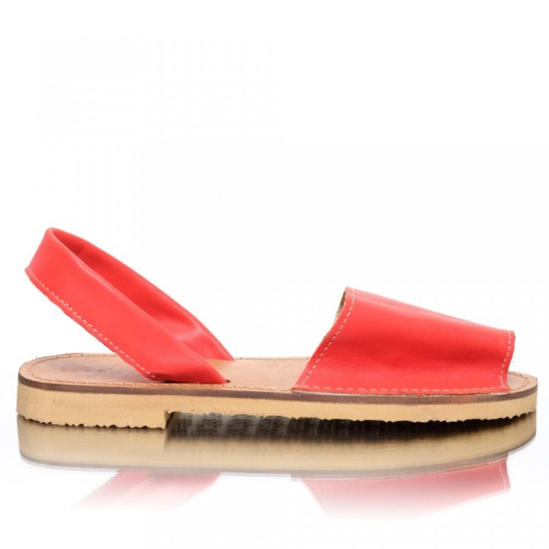 Sandale din piele naturala rosu-corai