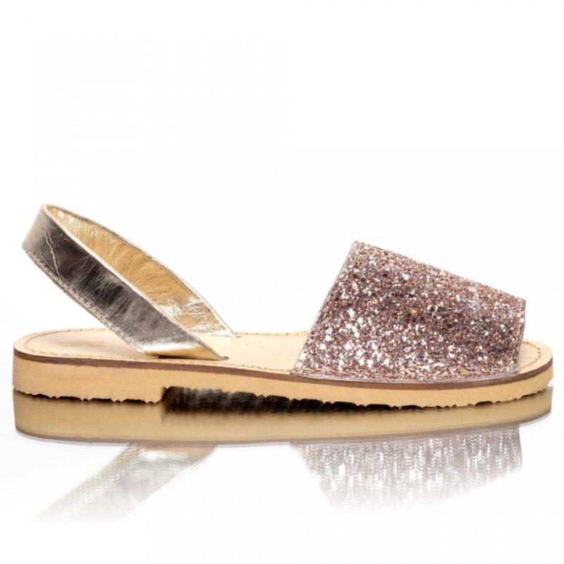 Sandale din piele naturala glitter auriu-rose