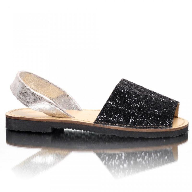 Sandale din piele naturala glitter negru