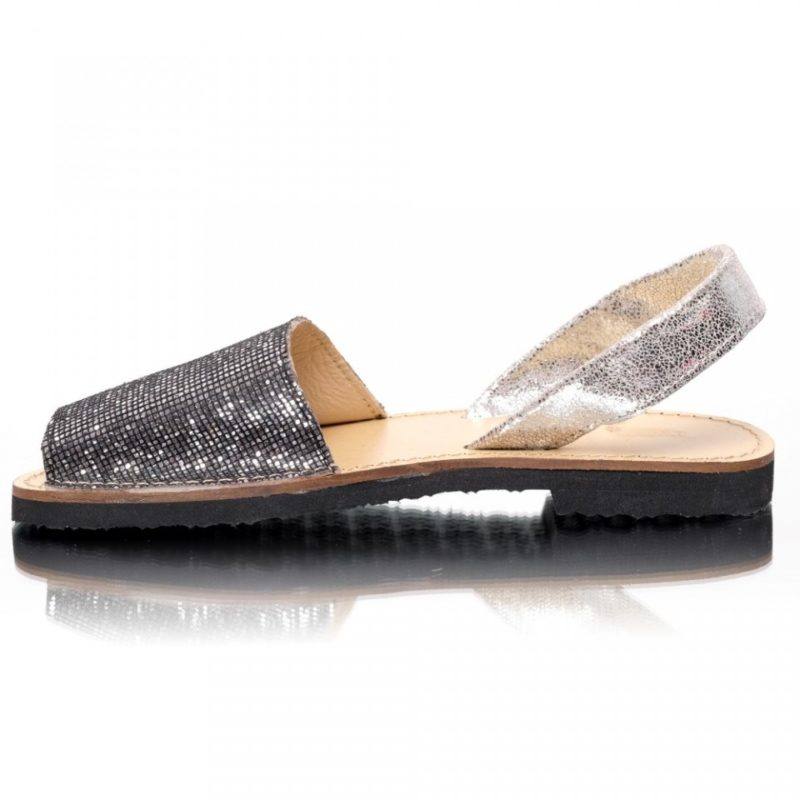 Sandale din piele naturala glitter argintiu