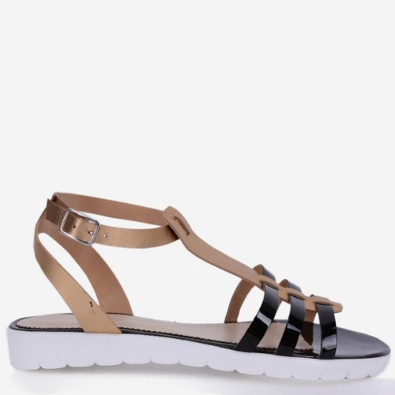 Sandale negre din piele naturala lacuita