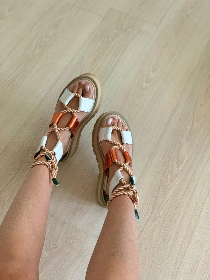 Sandale multicolore din piele naturala cu platforma