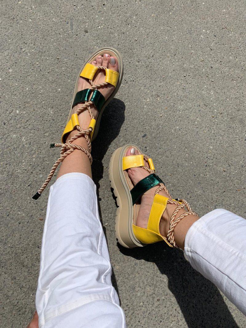 Sandale din piele naturala galben-verde